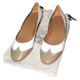 Hermès-escarpins compensés bicolores blanc et taupe très bel état-Blanc,Taupe