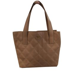 Chanel-Sac anse en cuir beige-Beige