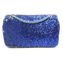 Chanel-Handtasche-Silber,Blau,Marineblau