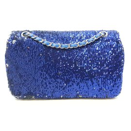 Chanel-Handbag-Silvery,Blue,Navy blue