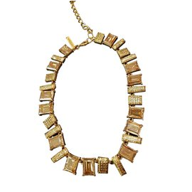 Oscar de la Renta-collier de cristal de luxe unique-Beige,Bronze,Marron clair