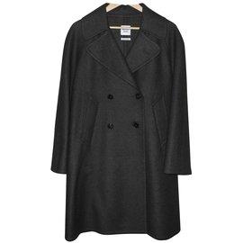 Hermès-Hermès superbe manteau vert foncé cachemire-Vert foncé