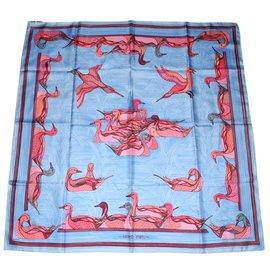 Hermès-Hermès carré La Mare aux Canards-Rose,Rouge,Bleu