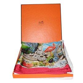 Hermès-Hermès carré Les Ameriques Circa 1994 superbe-Multicolore