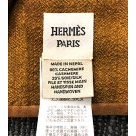 Hermès-Couverture Hermes en cachemire et soie-Marron