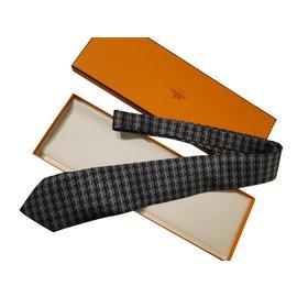 Hermès-cravate hermes-Bleu Marine,Bleu clair