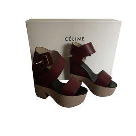 Céline-sandals-Dark red