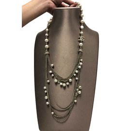 Chanel-Chanel Pearl double layer necklace-Golden