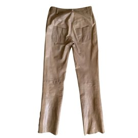 Chanel-Buffalo leather trousers T.34 chocolate-Chocolate