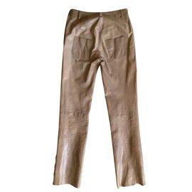 Chanel-pantalon cuir de buffle T.34 chocolat-Chocolat