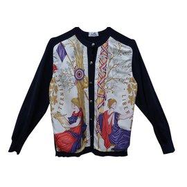 Hermès-Tricots-Multicolore,Bleu Marine