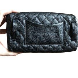 Chanel-Black leather chanel clutch-Black