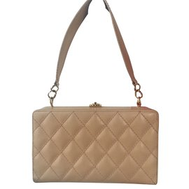 Chanel-Handbags-Beige,Golden