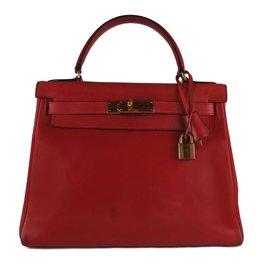 Hermès-Hermès Kelly bag 28 in red box leather H!-Red ... 499538f508d2c