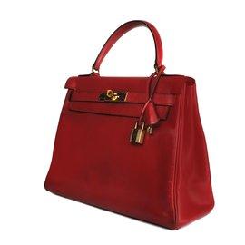 ... Hermès-Hermès Kelly bag 28 in red box leather H!-Red fef7ae46d0317