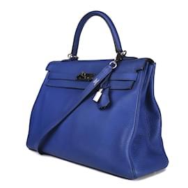 Hermès-Hermès Kelly 35 à bandoulière en cuir taurillon clémence bleu paradis en très bon état !-Bleu Marine