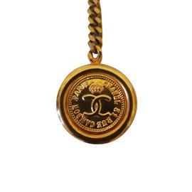 Chanel-Bijoux de sac Chanel vintage-Doré