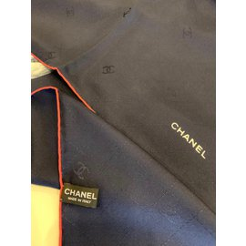 Chanel-carre CHANEL SOIE-Bleu Marine