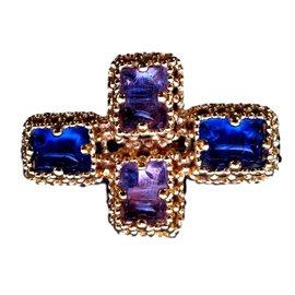 Yves Saint Laurent-Broche pendentif ysl vintage cabochon saphir clair-Bleu