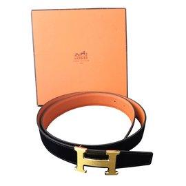 Hermès-Superbe ceinture réversible-Noir,Doré,Orange