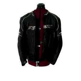 Autre Marque-100% leather motorcycle jacket with back protector and interior protections-Black