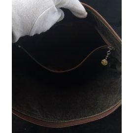 Céline-Rare sac vintage Céline cuir autruche-Cognac