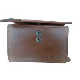 Autre Marque-Brown leather wallet Hill Burry-Brown