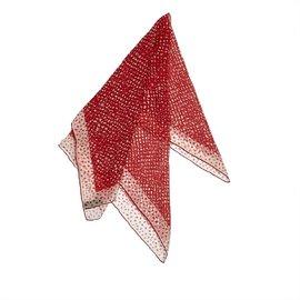 Louis Vuitton-Foulard en soie imprimée-Blanc,Rouge,Écru