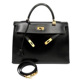 Hermès-HERMES SAC KELLY 35 SELLIER-Noir
