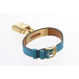 Hermès-Montre Kelly-Bleu,Doré
