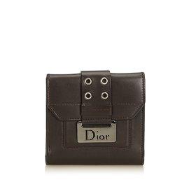 Dior-Petit portefeuille en cuir-Marron,Marron foncé