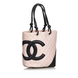 Chanel-Cambon Ligne Tote-Noir,Rose