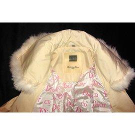Christian Dior-Veste en fourrure de lapin-Blanc,Beige
