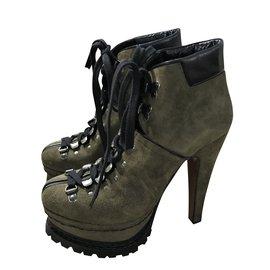 3045c16598ed Alaïa-Olive Green suede hiking platform boots-Olive green ...