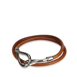 26a5167fa6d3 ... Hermès-Jumbo Hook Double Tour Bracelet-Brown,Silvery