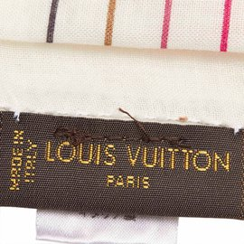 Louis Vuitton-Écharpe en soie monogram-Multicolore,Orange