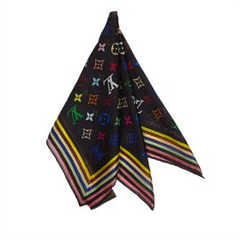 Louis Vuitton-Foulard en soie Monogram Mini-Noir,Multicolore