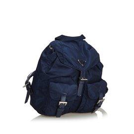 Prada-Sac à dos en nylon-Bleu,Bleu Marine