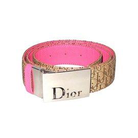 cc68c0e1730 Christian Dior-Christian Dior ceinture en toile monogrammée et cuir  rose-Marron