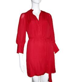 Halston Heritage-Red silk dress-Red