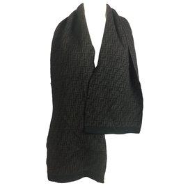 3834e8b4825d Fendi-foulard en laine imprimé logo-Marron ...