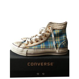 Converse-Paire de Converse All star Chuck Taylor haute édition spéciale-Blanc,Bleu,Blanc cassé