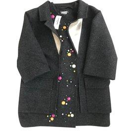 Chanel-Manteau de laine chanel bejeweled-Gris anthracite