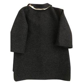 Chanel-Chanel Wool Bejeweled Coat-Dark grey