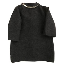 Chanel-Manteau de laine chanel bejeweled-Gris anthracite