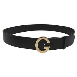 Gucci-Gucci Ceinture Vintage noire avec boucle en or G-Noir,Doré