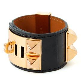 Hermès-HERMES BRACELET MEDOR DOG COLLAR NEW ALLIGATOR BLACK-Black ... 7c8f1b83d4d