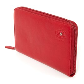 Chanel-WALLET CAMELIA RED-Red
