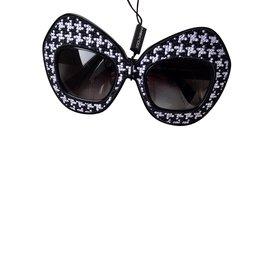Dolce & Gabbana-Lunettes Dolce Gabbana blanc et noir-Noir,Blanc