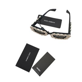 Dolce & Gabbana-LUNETTES DE SOLEIL SWEET AND GABBANA FLOWER NOIR ET BLANC-Noir,Blanc